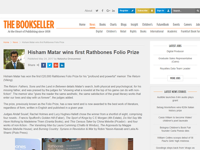 The Bookseller's article on the 2017 Rathbones Folio Prize winning book, The Return by Hisham Matar